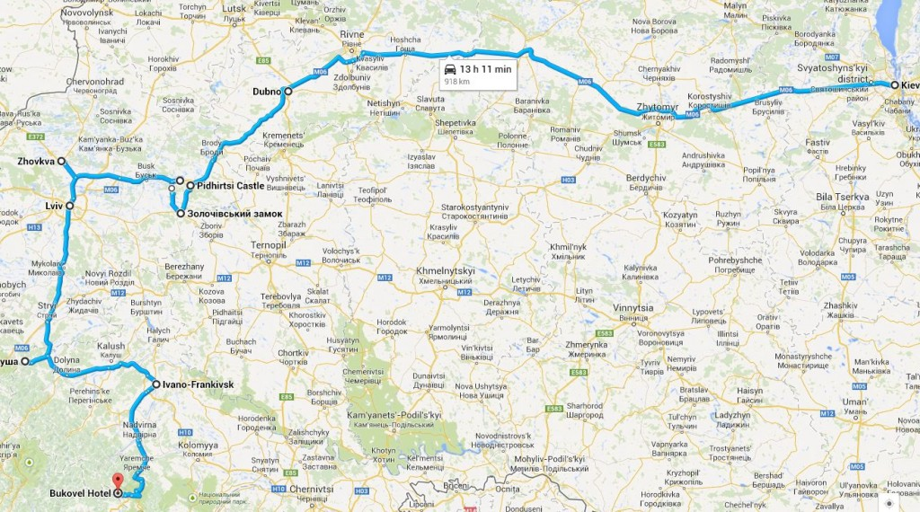 Маршрут Киев - Буковель